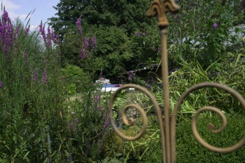 Gartendeko vor Gebüsch mit Blick auf Pool
