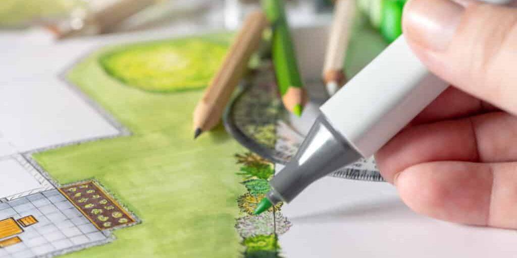 Bunte Zeichnungen von Haus und Garten